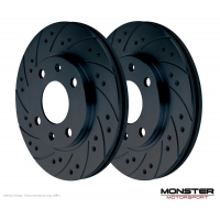 Black Diamond KBD1028 - HONDA Civic (Saloon/Hatch) Type-R (EP3) (01-05) - Performance Drilled & Grooved Discs (Front/Vented)
