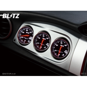 Blitz 19184 - Various Fitments - Racing Meter Panel & Gauge Pack - Silver - Includes Boost, Temp & Pressure (Red)